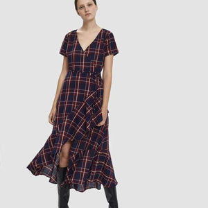 Anthro Stelen S Maxine Red Blue Plaid Maxi dress
